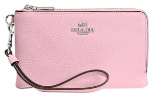 Coach Leather Double Zipper Wristlet in Pink
