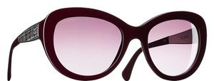 Chanel 5346 CC Butterfly Signature Oversized Classic Cateye Tweed Burgundy