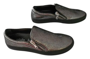 Sebastian Milano Crackle Finish Smog Glitter Dual Zippers Arch Support Made In Italy Grey Athletic