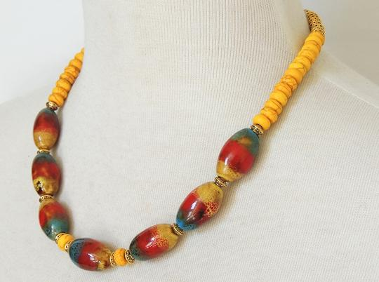 Handmade Yellow Howlite turquoise, Red & Blue Southwestern Ceramic beaded Statement necklace