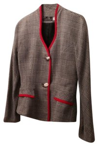 PSI Collection PSI Collection Peplum Blazer Houndstooth Plaid Red Braid