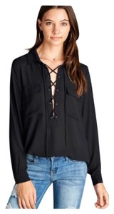 Other Lace Up Bohemian Chiffon Pockets Top Black