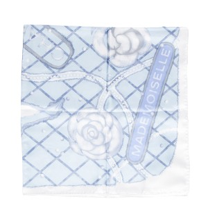 Chanel Chanel Light Blue & White Silk Printed Scarf