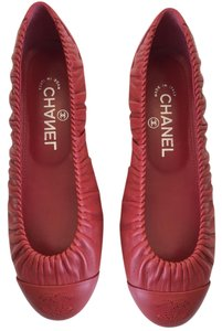 Chanel Cc Ballerina Classic Red Flats