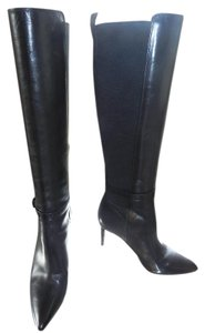 Via Spiga Leather Tall High Heel Pointed Toe Black Boots