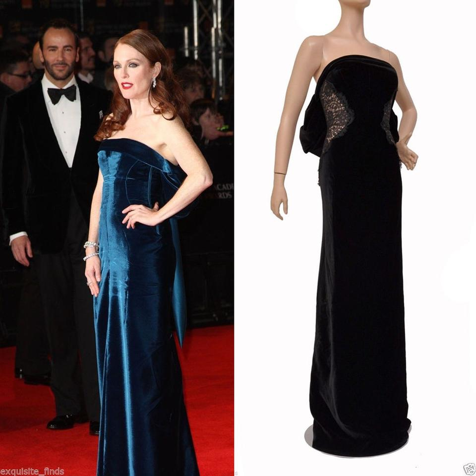 Tom Ford Black New Velvet and Lace Tied Evening Gown Long Formal ...