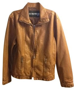 Outerwear by Lisa Zippered Ruffles Long Sleeve Comfortable Coffee Leather Jacket