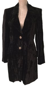 Express Black Express Crushed Velvet Long Jacket (Size Small)