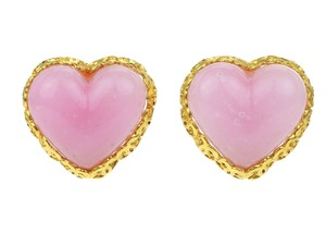 Chanel Vintage Pink Heart Gripoix Glass Earrings