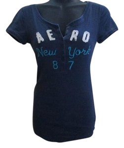 Aéropostale Stretch Knit Henley Fitted T Shirt Navy Blue
