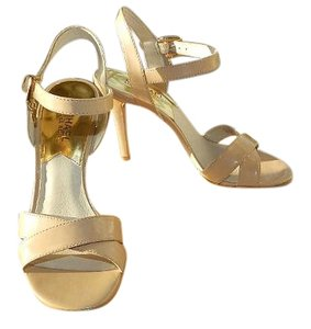 Michael Kors Patent Leather Ankle Strap Nude Sandals