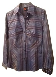 Adrienne Vittadini Striped Button Down Shirt Blue