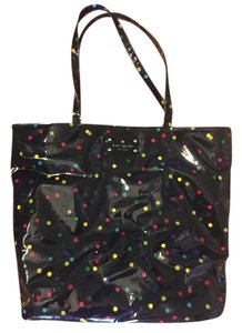 Kate Spade Tote in Navy Blue/Back with multi colored polka dots