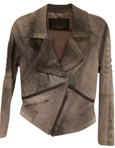 Yigal Azrouël Studded Leather Distressed Grey Leather Jacket