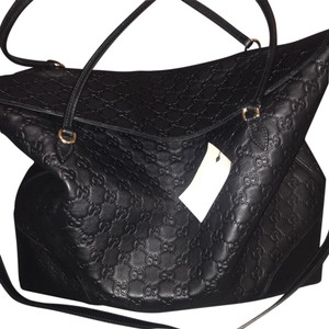 Gucci Leather Top Handle-Large Tote in Black