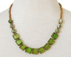 Handmade Olive & Gold Mosaic beaded strand Statement Necklace