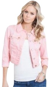 Guess Denim Distressed Neon Fitted Pink Womens Jean Jacket