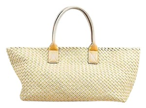Bottega Veneta Gold Tote in Taupe