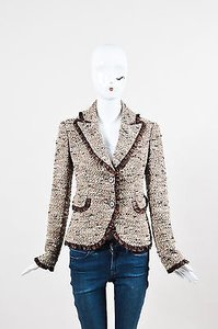 Monique Lhuillier Brown Multicolor Wool Tweed Silk Ruffle Blazer Multicolor, Brown Jacket