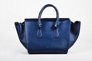Céline Navy Ghw Small Tie Tote Leather Handbag Satchel in Blue