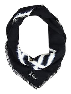 Dior Christian Dior Black Cream Wool Silk Tie Dye Fringe Square Scarf