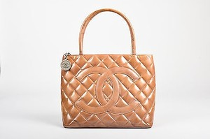 Chanel Camel Patent Leather Quilted Cc Medallion Tote in Camel, Silver-Tone