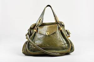 Chloé Chloe Leather Small Paraty Satchel in Green