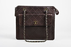 Chanel Quilted Leather Gold Tone Chain Strap Tote Shoulder Bag