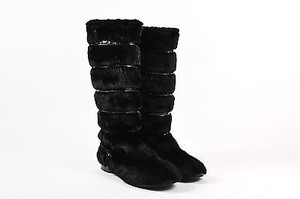 Jimmy Choo Sheared Rabbit Fur Embossed Leather Trim Knee High Black Boots