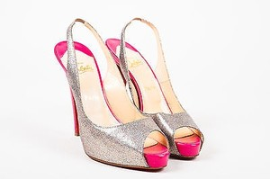 Christian Louboutin Prive 120 Pink Metallic Glitter Slingback Heels Multi-Color Pumps