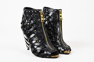 Tom Ford Leather Zebra Heel Woven Cage Ankle Black Boots