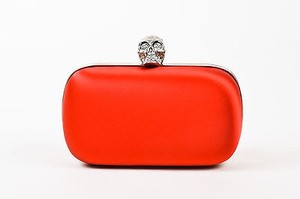 Alexander McQueen Satin Silver Tone Rhinestone Embellished Skull Red Clutch