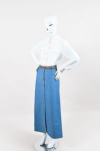 Alessandra Rich White Georgette Body Suit With Chambray Maxi Skirt Blue