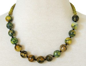 Handmade Olive Green Jade & Dragon Agate Strand Statement Necklace
