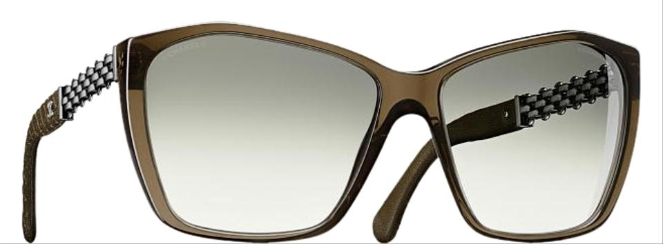 89d1578df3 Chanel Green Olive Khaki 5327 Cc Logo Square Butterfly Chain Link Oversized  Classic Sunglasses