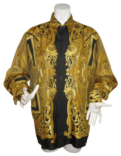 Item - Black and Gold Animaux Solaires Button Down Blouse Size 14 (L)
