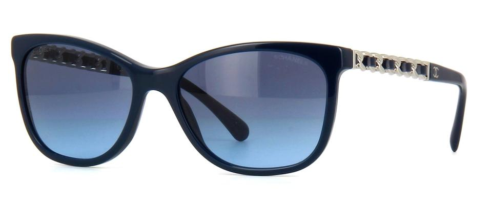 686a3e650600 Chanel Navy Blue Silver 5260 Q Cat Eye Cateye Chain Link Quilted Leather Cc  Logo Wayfarer Sunglasses