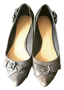 Nine West Suede Leather Buckles Grey Flats