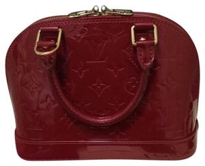 Louis Vuitton Alma Bb Monogram Vernis Red Patent Satchel in Pomme D'amour