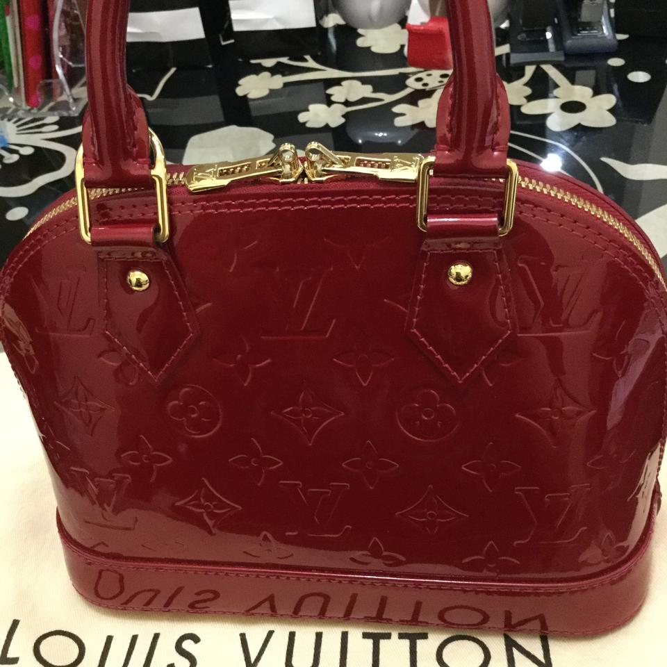 94e1f62798e6 Louis Vuitton Alma Bb Monogram Vernis Red Patent Satchel in Pomme D amour  Image 9. 12345678910
