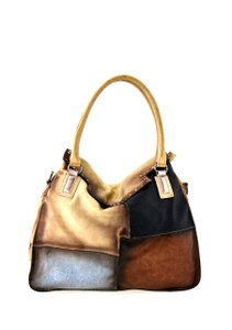 DMR Touch Fashion Vegan Faux Leather Vegan Leather Patchwork Tote in Camel