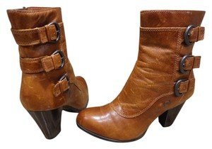 Brn Leather Distressed Bootie brown Boots