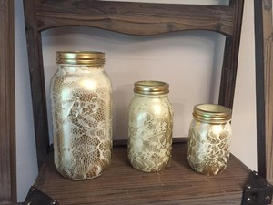 3 Ivory And Gold Rustic Chic Mason Jars