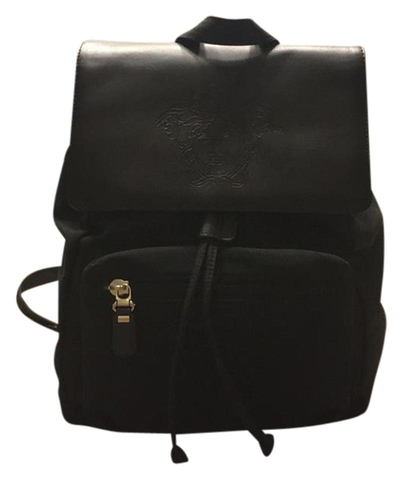 86579a460a43 Versace Black Nylon Leather Backpack - Tradesy