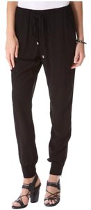 Splendid Elastic Tapered Draped Zipper Relaxed Pants Black
