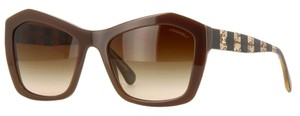 Chanel 5296 Signature Butterfly Lace Tweed Cateye CC Oversized Cat Brown