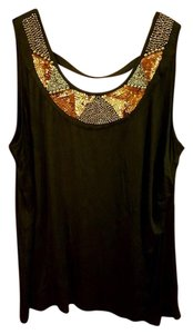Lane Bryant Sequin Beaded Studded Holiday Dress Top Black
