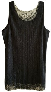 Lane Bryant Lace Holiday Pleated Dress Top Black