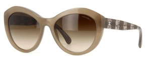 Chanel 5294 Signature Butterfly Lace Tweed Cateye CC Oversized Cat Beige