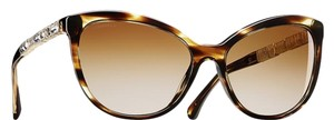 Chanel 5307 B Bijou CC Logo Crystal Strass Cat Eye Cateye Havana Tortoise